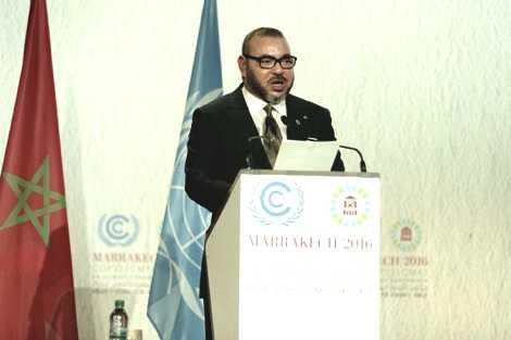 """الملك محمد السادس في خطابه لـ """"كوب22"""" : البشرية تنتظر أكثر من مجرد الإعلان عـن التزامات ومبادئ للحد مـن الاحتباس الحراري"""